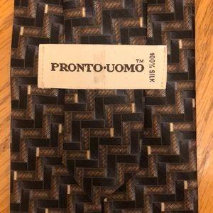 Pronto Uomo Silk Tie Blue & Brown Geometric Design